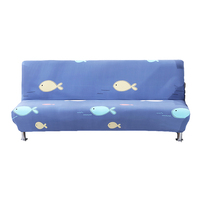 Blue Sofa Bed Cover Yellow White Pink Bubble Fish Pattern Print Sofa Slipcover Sofa Protector Sofa