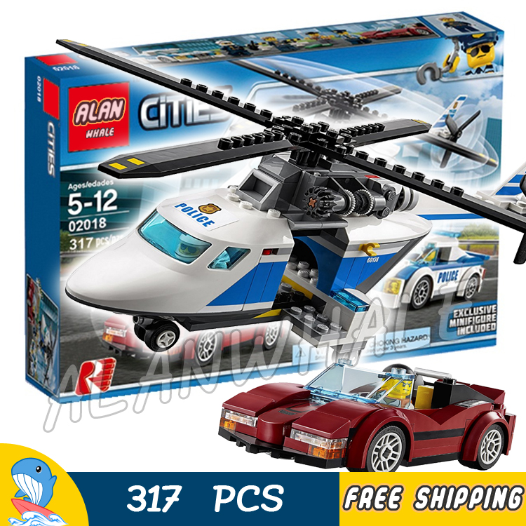 317pcs City Police High-Speed Chase 02018 Helicopter Model Building Blocks Assemble Bricks Children Toys Compatible With Lego lepin 02025 city the high speed racer transporter 60151 building blocks policeman toys for children compatible with lego
