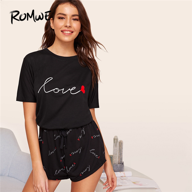 ROMWE Black Heart and Letter Print   Pajama     Set   Women 2019 Summer Short Sleeve Tee Drawstring Short   Sets   Casual Sleep Nightwear
