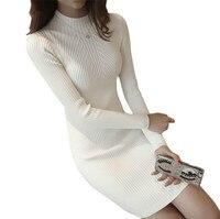 White Winter Women Warm Sweater Dresses Soft Long Sleeve Slim Bodycon Warm Casual Dress Sexy Mini Knitted Autumn Dress