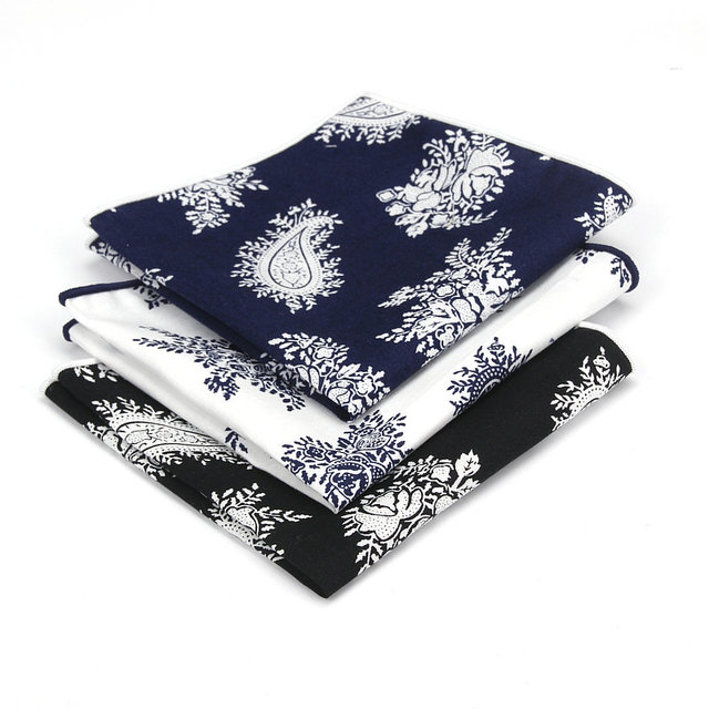43599e27fedc1 3 Pieces Sale Men's Cotton Pocket Squares Edging Grey Paisley Print  Handkerchiefs for Ascot Ties Tie Wedding Party Business