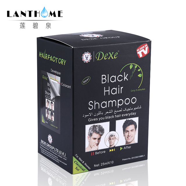 New Lanthome De xe black hair shampoo in black hair color Only 5minutes Fast Hair Dye Permanent Coloring Cream Building Fibers 1