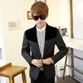 Mens Velvet Jacket Long Sleeve Royal Blue Casual Blazers Men Slim Fit Long Sleeve Fashion Formal Solid Designers Masculino 801