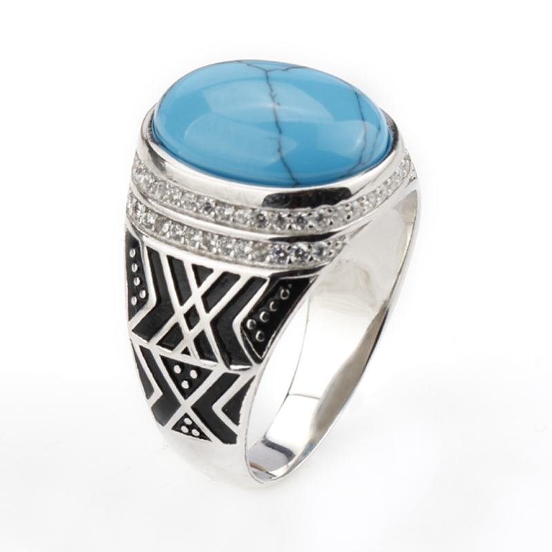 2018 New Men Ring 925 Sterling Silver Azure Color Crack Big Stone with Clear CZ Men Finger Ring velante 229 101 01
