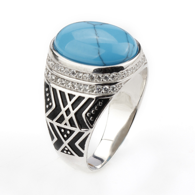 2018 New Men Ring 925 Sterling Silver Azure Color Crack Big Stone with Clear CZ Men Finger Ring