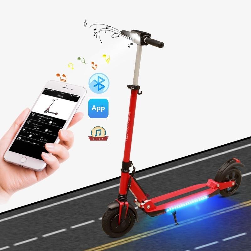 SUPERTEFF EW4 pro elegante 8 polegada pneus LEVOU luz roda scooter elétrico e scooter com música Bluetooth e kugoo App