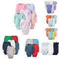 Baby Boys and Girls 6pcs Bodysuit set Bebes Clothing carter Cotton Bodysuit Jumpsuit Long Sleeve 4 pcs Pack Baby carter set