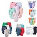 Bebés y Las Muchachas 6 unids Ropa de carter Body set Bebes Traje de algodón Del Mono de Manga Larga 4 unids Paquete Bebé carter conjunto
