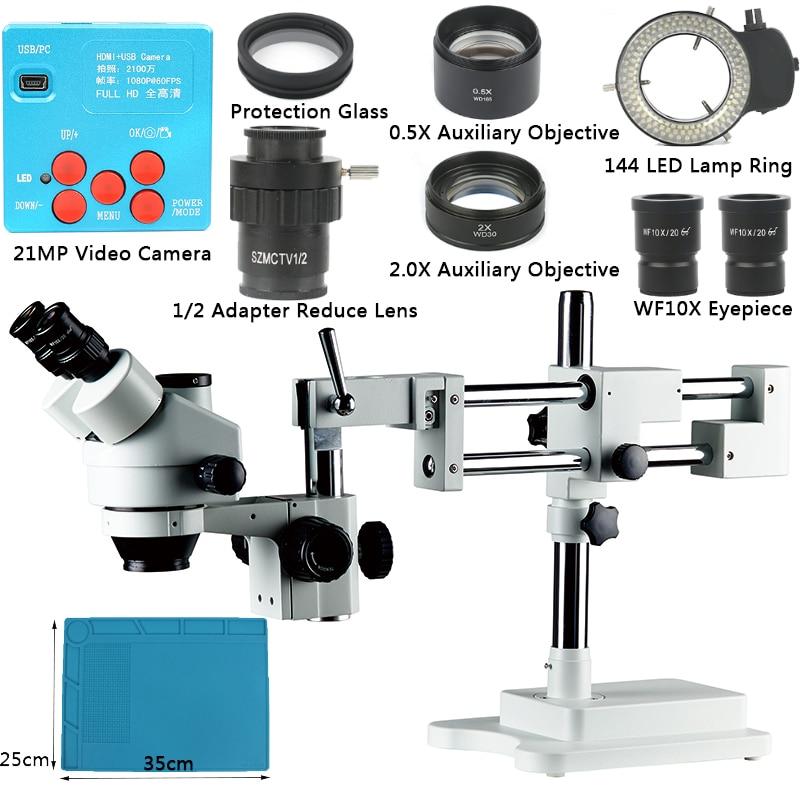 21MP 1080 p HDMI Industria Electron Microscopio Digitale Della Macchina Fotografica di Riparazione Del Telefono 3.5X-90X Doppio Boom Stand Microscopio Stereoscopico