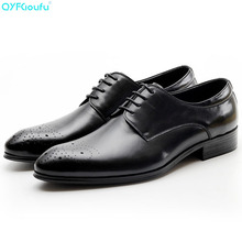 New Genuine Cow Leather Pointed Toe Italian Men Shoe Fashion Dress Shoes Oxfords Black Red Wine Lace-up Vintage Shoes стоимость