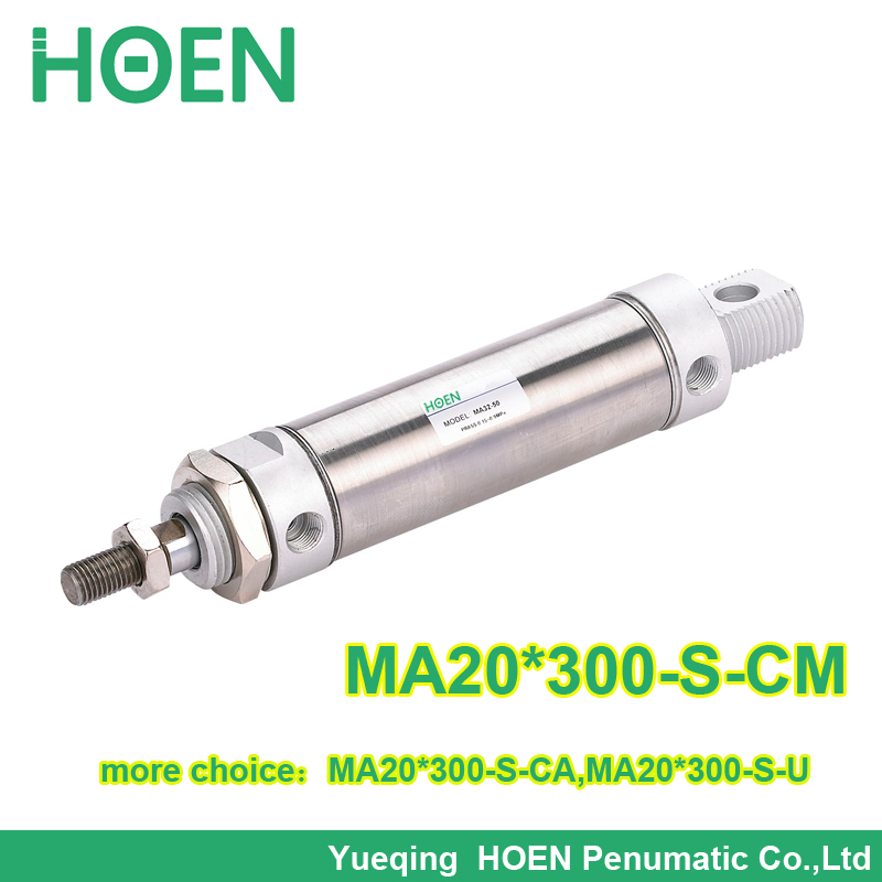 MA20*300-S-CM Airtac type MA Series stainless steel around mini cylinder 20mm bore 300mm stroke MA20-300 original airtac mini cylinder stainless steel ma series ma16x85su