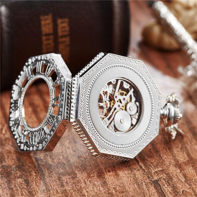 Nova Mão Winding Mecânica Pocket Watch Cadeia