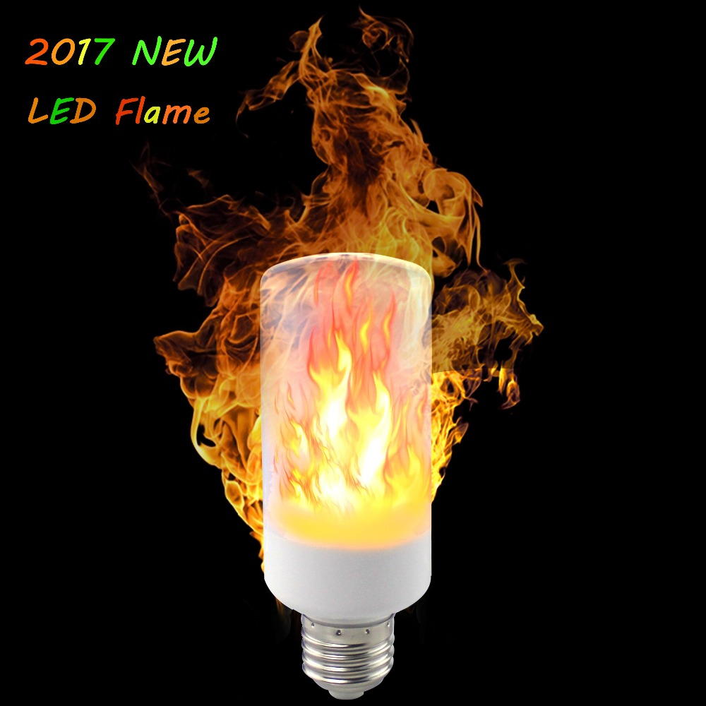 2PCS 2017 New E27 E26 E14 B22 2835SMD LED Lamp Effect Fire Light Lamps 9W Emulation Flame Flicker Lights 1400K-1600K AC85-265V ...
