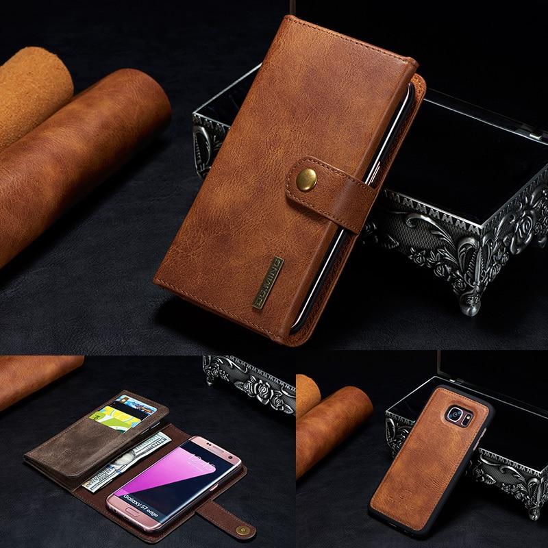 imágenes para Retro Caja de Cuero Verdadera Genuina para Samsung Galaxy S7/S7 borde S8 Más S8 + Casos Soporte de Lujo Del Tirón Magnético Cubierta Del Teléfono caso