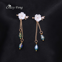 Newest Fashion Luxury Long Dangle Plum Blossom Long Tassel  Clear Crystal Drop Earrings For Women Ear Jewelry Bijoux Femme