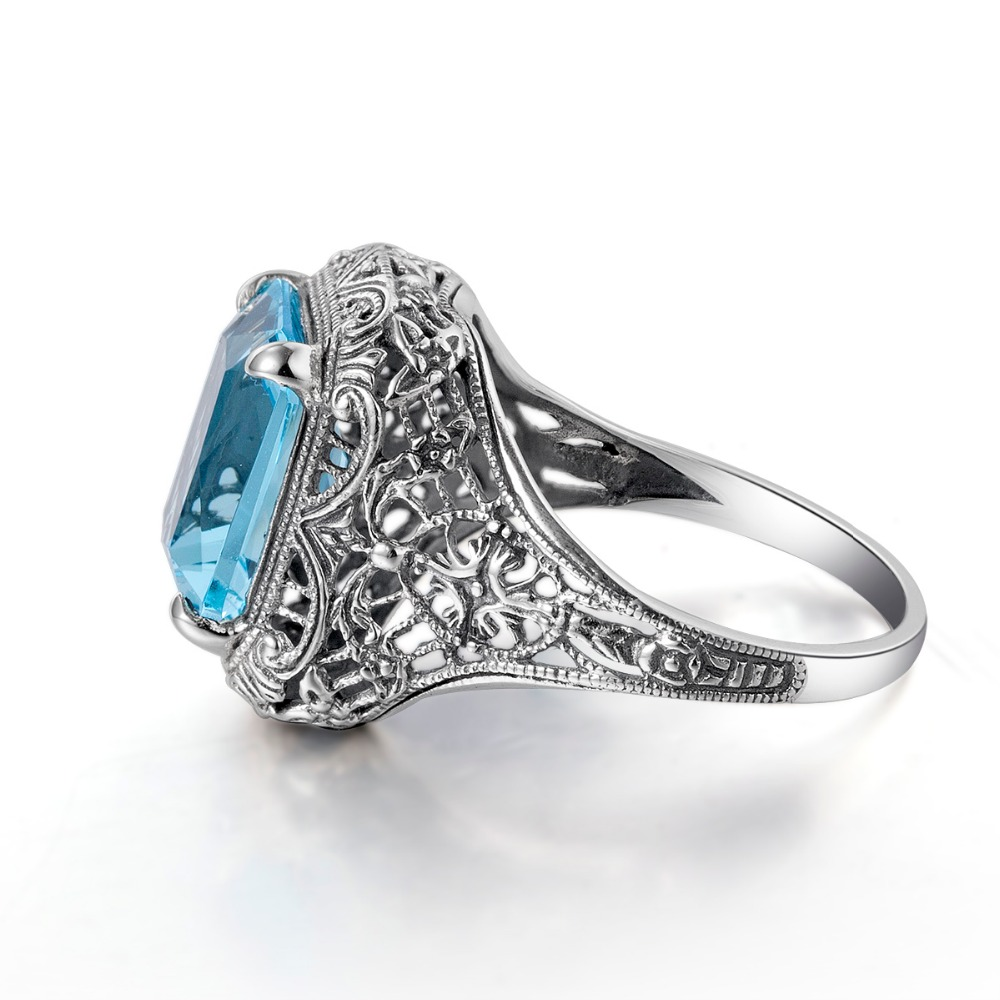 Szjinao Flower Pattern Turkish Jewelry 925 Sterling Silver Rings For Women Aquamarine Fashion Retro Solitaire Engagement Ring