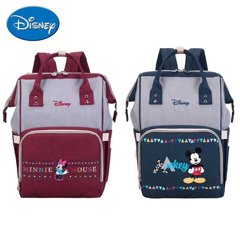 Disney Mummy Diaper Bags Baby Nappy Changing Nursing Bag Large Capacity Travel Backpacks Minnie Mickey Mouse Women Shoulder Bags