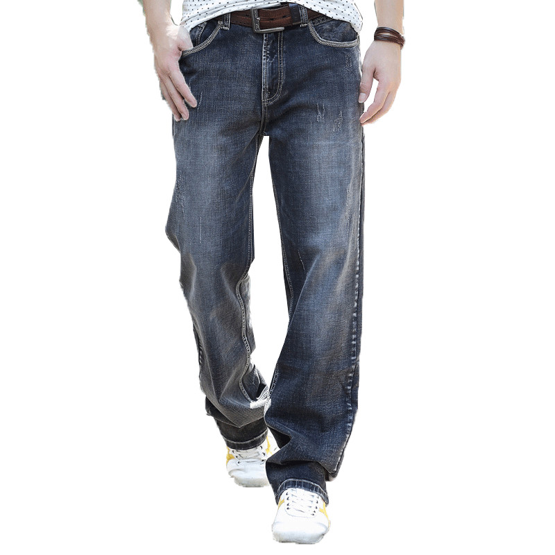 Large Size W30-W46 Gray Wide Leg Loose Jeans Men Skateboard Pants Mens Baggy Hip Hop Jeans Big and Tall Clothing hot new large size jeans fashion loose jeans hip hop casual jeans wide leg jeans