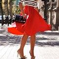 Summer Women Skirts Elegant Office Ladies Skirt Pleated Skater Vintage Casual Knee Length high waist OL Skirt saia Solid color