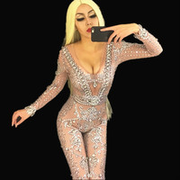 Women Bright Pearls Crystals Jumpsuits Sexy Rhinestones Perspective Bodysuit Stage Dance Wear Evening Celebrate Shining Costume