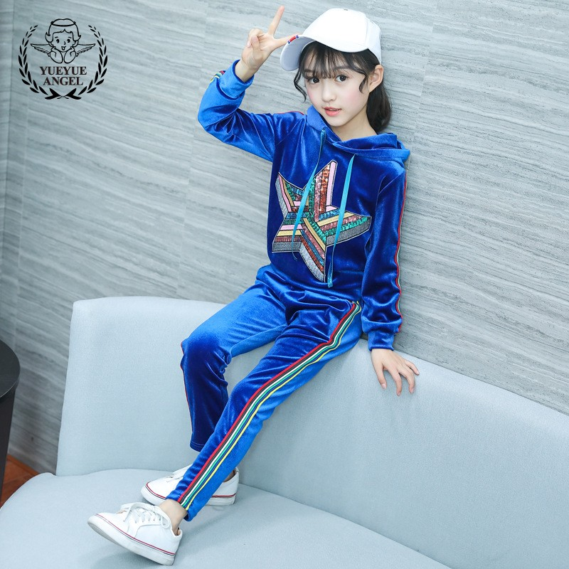 2018 New Spring Hot Costumes For Menina Child Clothes Long Sleeve Star Pattern Hooded Top+Striped Sports Pants 2Pcs Girls Suits
