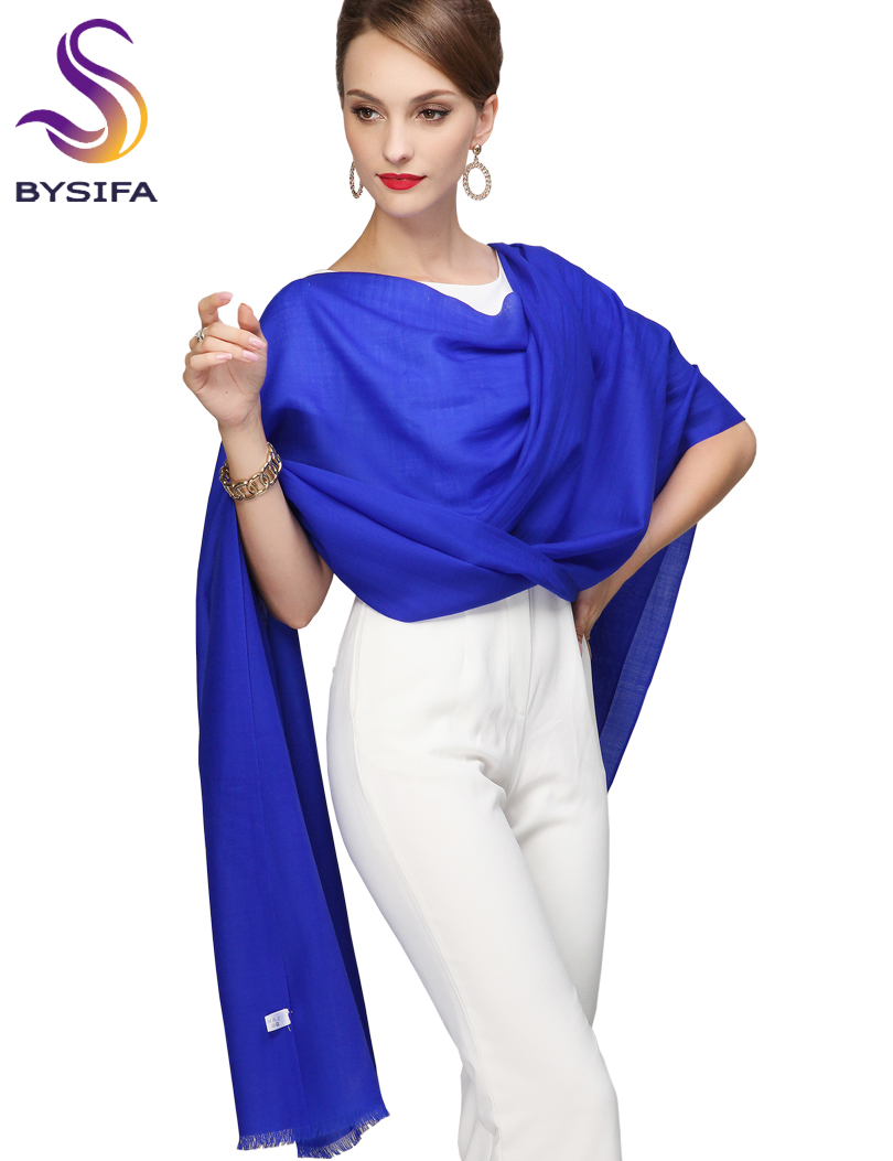 Ladies Wool Scarf Sjal Trykt Ny Ankomst Solid Long Scarves Wraps 100% Pure Ull Wraps 210 * 80cm Royal Blue Scarf Pashmina