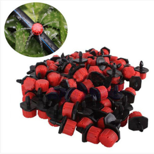 100pcs Adjustable Micro Drip Irrigation System Watering Sprinklers Plant Emitter Drippers Garden 1/4″ Barb Watering Tools