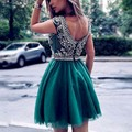 Sexy Backless Hand Made Crystal Beaded Boat Neck Cap Sleeve Green ColorsTulle prom dress Homecoming Dresses Cocktail Dresses