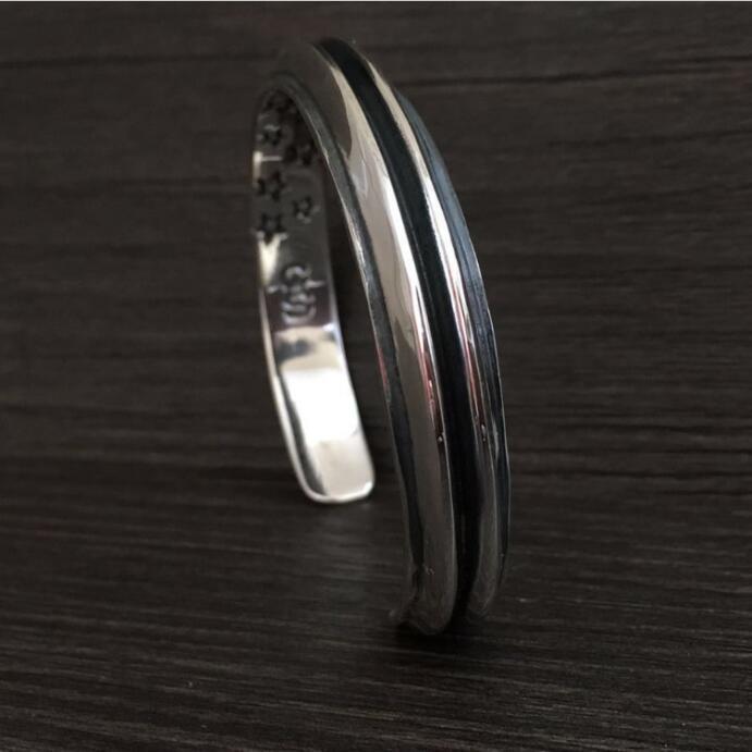 Moda superior plata 925 Simple brazalete brazaletes y pulsera hombres 100% sólida plata esterlina 925 Real para hombre joyería Vintage estilo indio