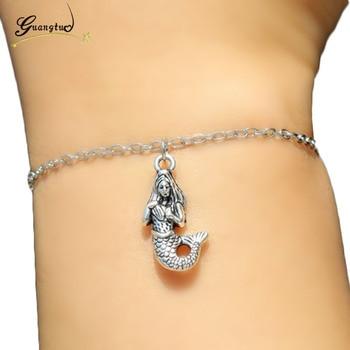 1Pcs Retro Mermaid Pendant Bracelets & Bangles Pulseira Feminina For Women Fashion Jewelry Bracelets Pulseiras Jewelry Gift men beaded bracelet red