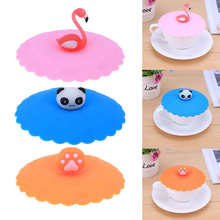 1pc Cute Flamingo Cup Cover Cartoon Animal Panda Duck Cat Swan Sealing Leakage-proof Reusable Silicone Coffee Cup Lid(China)