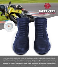 (1pair/Black) Hot Sales!! Brand Scoyco MBT002 Cow Leather Motorcycle Cycling Boots Motocross Shoes Footwear(Size EU39-46)