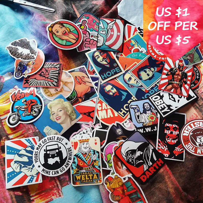 50 قطعة ملصقات الرجعية خمر لحقيبة سكيت محمول هاتف محمول دراجة نارية دراجة اكسسوارات السيارات ملصقا مختلطة قنبلة