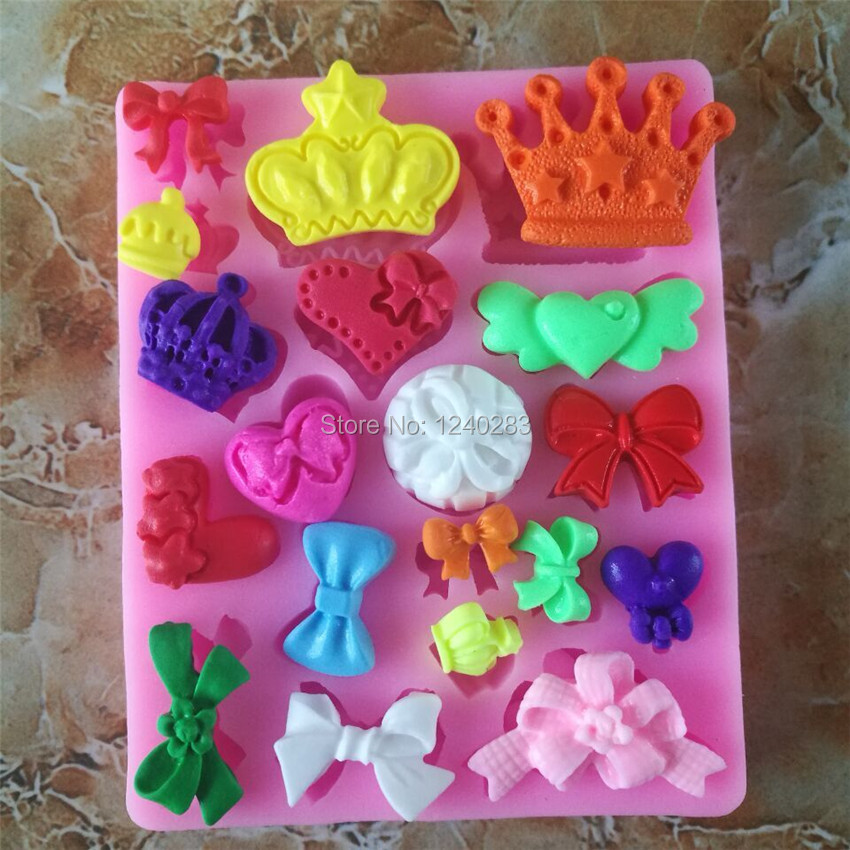 Corona bowknot Fondant Cake Decorating Herramientas Moldes De Silicona Marco de