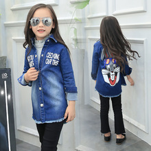 Spring Children Clothing Girls Denim Jacket Blue Print Cartoon Rabbit Outerwear Coat Big Girls Coat Long