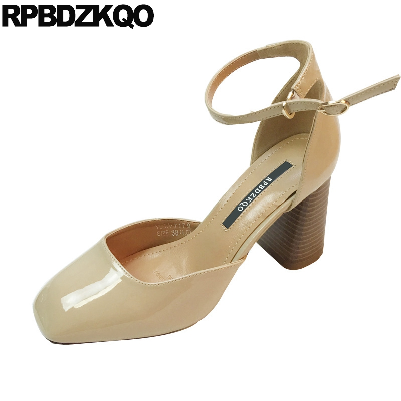 Closed Patent Leather Shoes Nude Ladies Party 2018 Ankle Strap Pumps Cool Square Toe Thick Sandals Vintage Size 4 34 High Heels women chic champagne patent leather sandals square thick high heels pumps covered heel single strap gladiator shoes golden pumps