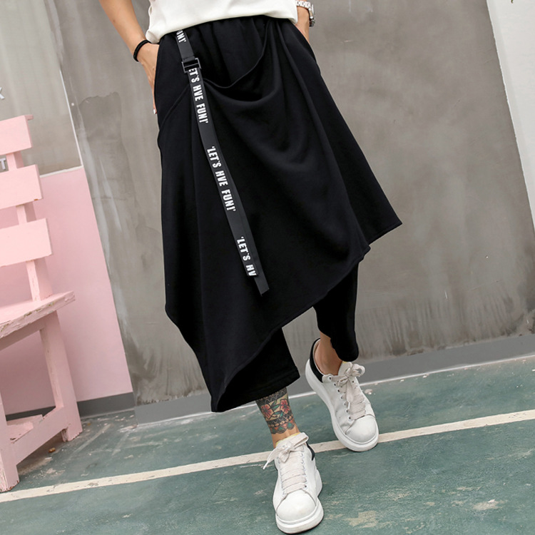 Women Ribbon Fake Two Pieces Design Loose Casual Cross Pants Female Streetwear Hip Hop Punk Gothic Harem Skirts Pants Trousers