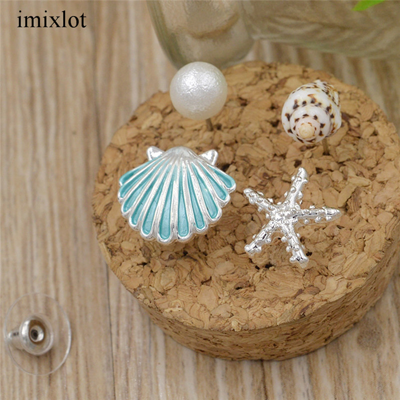 imixlot 1 Set Ocean Style Pink/Blue/White Color Small Shell Sea Star Conch Stud Earrings Fashionable Girls Jewelry Accessories eye shadow