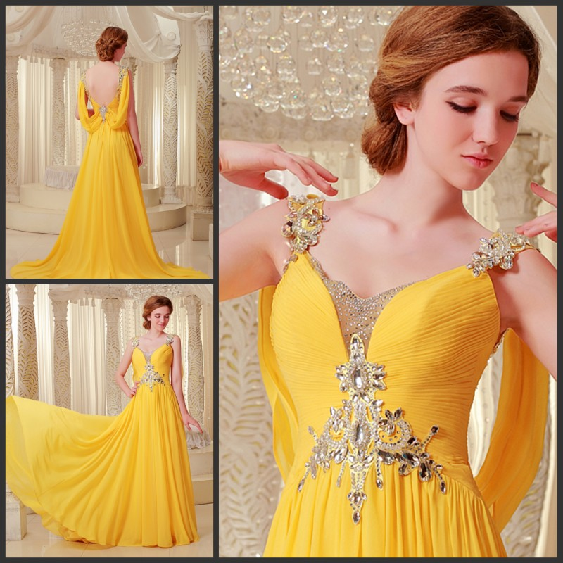free shipping 2018 luxury rhinestone crystal vestidos formal bride gown purple chiffon yellow long Graduation   bridesmaid     Dresses