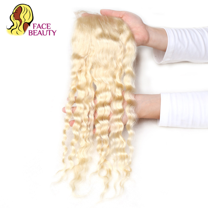 Facebeauty 613 Blonde Closure Top Remy Hair 8 22 Inch 4 4 Transparent Swiss Middle Free