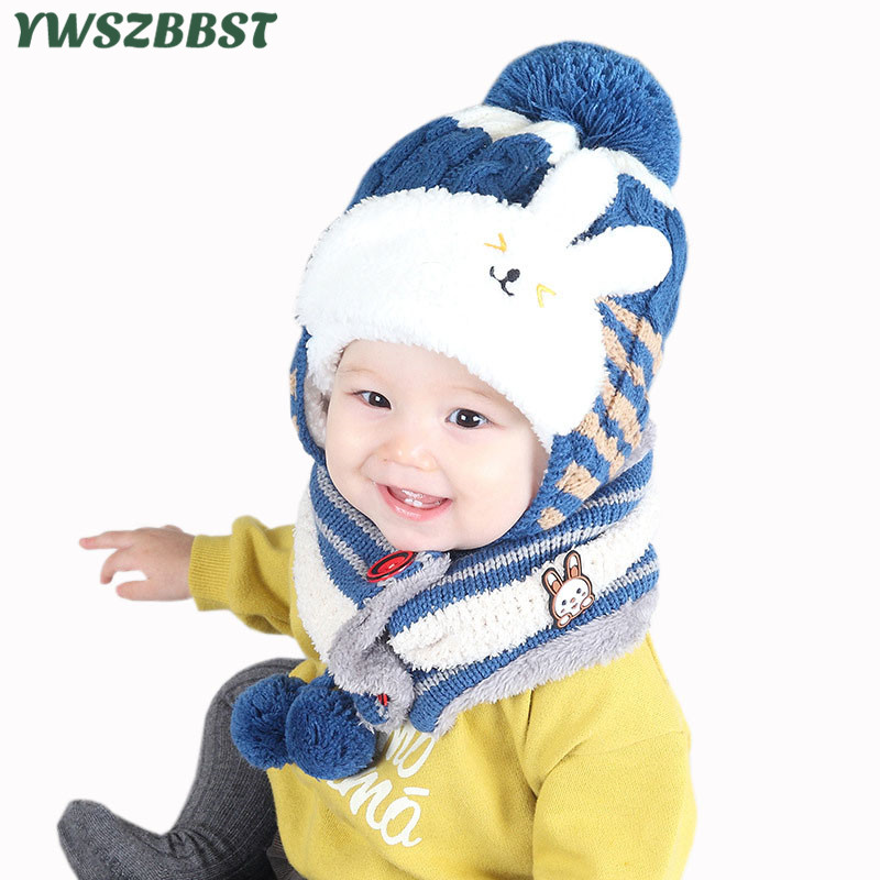 Baby Hat Fashion Baby Hat Scarf set Children Winter Hats for Girls Cotton Warm Knitted Beanie Cap fit 7 to 36 Months rabbit fur hat fashion thick knitted winter hats for women outdoor casual warm cap men wool skullies beanies