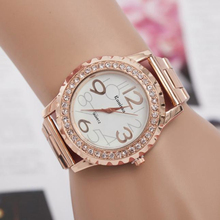 Fashion Women Men's Watches Crystal Rhinestone Alloy Clock Stainless Steel Analog Quartz Wrist Watch wholesaleF3