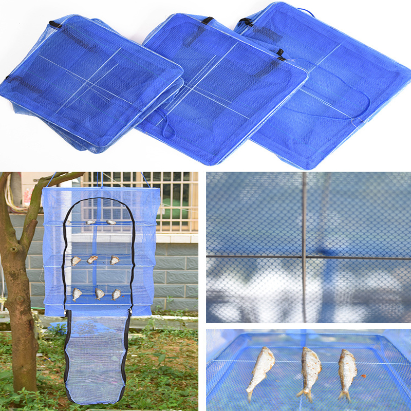 Foldable 3 Layers Drying Net Fish Net Drying Rack Hanging Vegetable Fish Dishes Dryer Net Kitchn Food Fresh Storage Orgainzer
