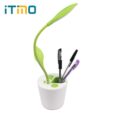 Good Gift For Student Sapling LED Table Light with Pen Holder 3 Level of Brightness Touch-sensitive Switch Dimmable Desk Lamp