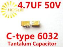 4.7 МКФ 50 В C тип 2312 6032 475 Т SMD Тантал Конденсатор Разъем TAJC475K050RNJ x500PCS
