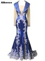 Lange Mouw Koningsblauw Sexy Mermaid Avondjurk 2017 Lace Rhinestone Avondjurken Lange Elegante Jurken Formele Gown