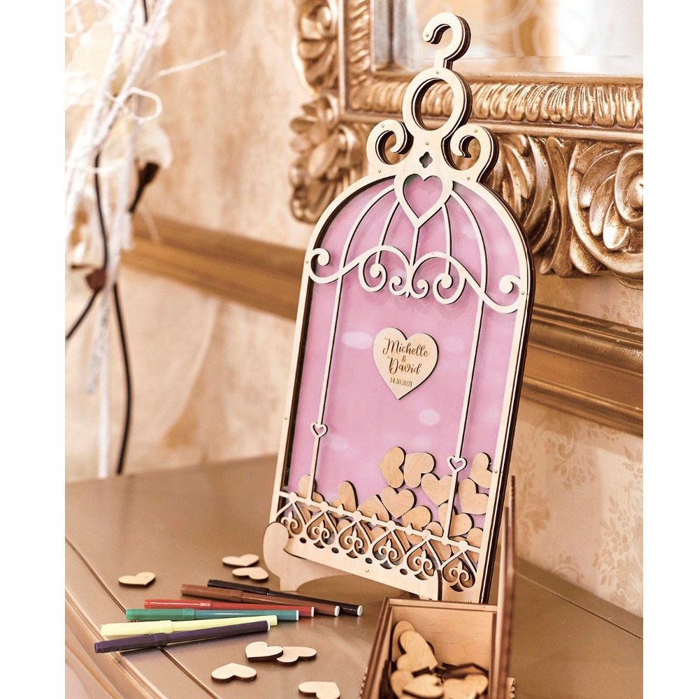 Signature Book Wedding Guest Wedding Guest Wedding Gift Alternative IdeasUnigue Guest Birdcage GuestbookWedding