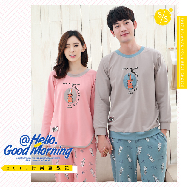 c3ac981da8 Couples pajamas long sleeve cotton spring autumn cartoon supersize teenager  leisure girl home suit Husband and wife