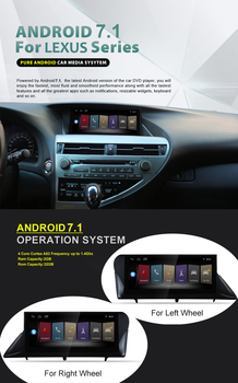 Dual System+Gift Mouse android 7.1 quad core touch screen car gps navigation device for LEXUS RX270 RX350 2009~2015 stereo