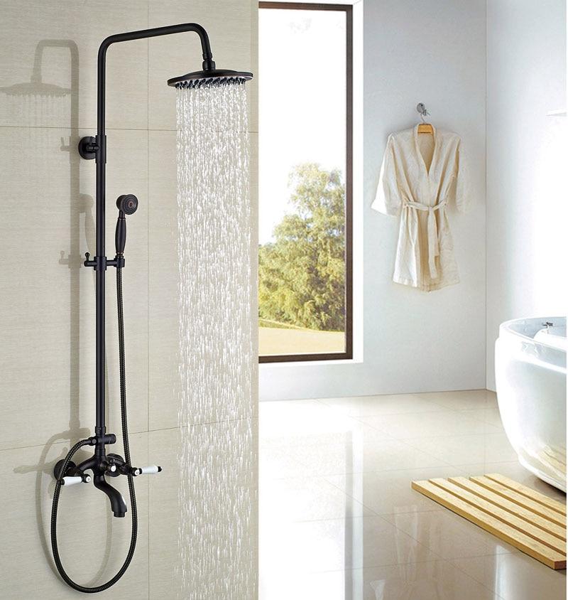 Contemporary Oil Rubbed Broze Bathroom Shower Set W/Hand Shower Double Handles Round Shower Head Faucet